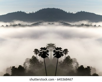Imagination of the parallel word photography, Mist and fog on mountains in the morning creates highlight and shadow with haze and smoke effect.