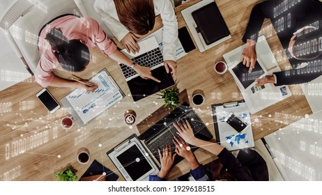 Imaginative visual of business people and financial firms staff . Concept of human resources , enterprise resource planning ERP and digital technology .