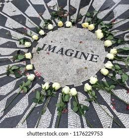 Imagine, John Lennon tribute in Strawberry Fields, Central Park, New York City