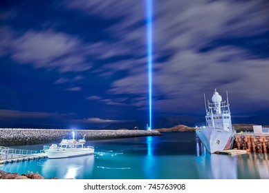 The Imagine Peace Tower on Videy island in Reykjavik