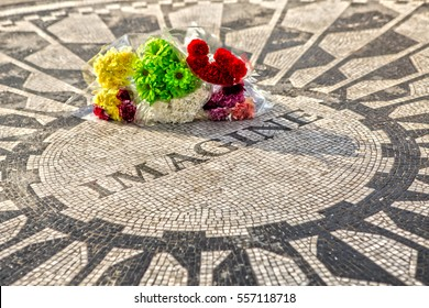 Imagine Strawberry Fields Central Park New York with Flowers