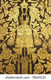 Imagine a wall in a temple in Thailand for easy viewing & thai Style Gold Painting Door\