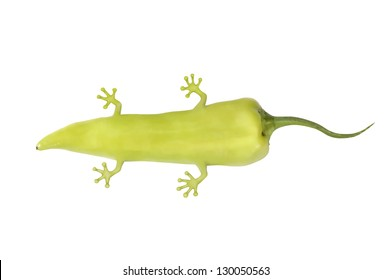 imagined genetically modified pepper with animal molecules, pepper with legs and tail