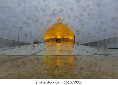 Imam ali holy shrine dome from the roof with rains - karbala