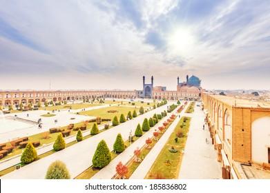 Imam Square in Naqsh-e Jahan Square, Isfahan, Iran viewed from Ali Qapu Palace.