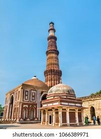 Imam Zamin's Tomb, Alai Darwaza and Qutub Minar at the Qutb Complex in Delhi. A UNESCO world heritage site in India