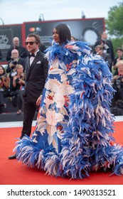 Iman Mohamed Abdulmajid  walks the red carpet ahead of the Opening Ceremony  during the 76th Venice Film Festival at Sala Grande on August 28, 2019 in Venice, Italy.