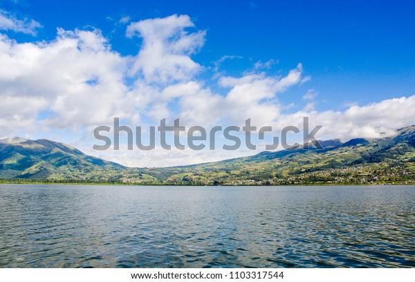 Imbabura inactive stratovolcano under the Lake San Pablo in northern Ecuador