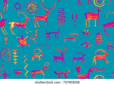 Imitation of drawing in a cave painted lilac and blue ocher by an ancient man on a rock wall. Hunting for an animal. Shaman, aboriginal, neanderthal, roe, ram, ship, mammoth, deer. Seamless pattern.