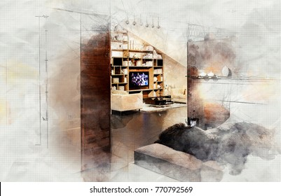 imitation of interior sketch of living area of house