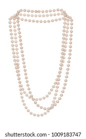 Imitation light pink fashion pearl necklace, photographed floating on white background.