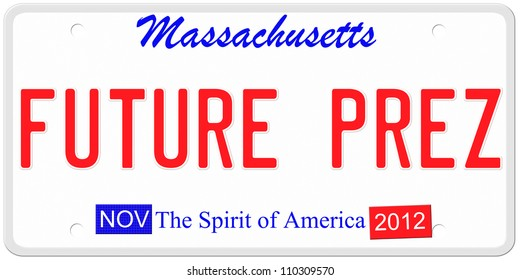 An imitation Massachusetts license plate with November 2012 stickers. Words on the bottom The Spirit of America.