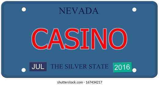 An imitation Nevada license plate with July 2016 stickers and CASINO written on it making a great concept.  Words elsewhere Silver State.