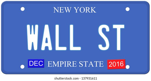 An imitation New York license plate with December 2016 stickers and WALL ST written on it making a great concept.  Words on the bottom Empire State.
