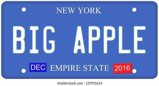 An imitation New York license plate with December 2016 stickers and BIG APPLE written on it making a great concept.  Words on the bottom Empire State.