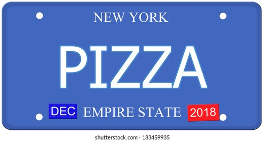 An imitation New York License Plate with the word PIZZA and Empire State making a great concept.