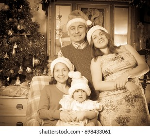 Imitation of  Vintage photo of happy married couple with child visiting mom for Christmas