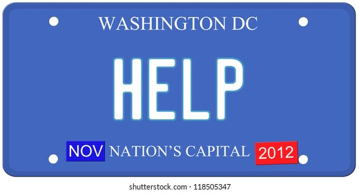 An imitation Washington DC license plate with Help written on it and January 2014 stickers.  Words on the bottom Nation's Capital.
