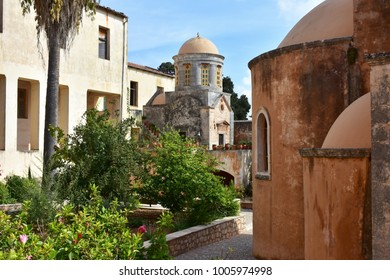 imkportent Agia Triada monastery on Crete island