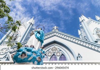 Immaculate Concepcion Cathedral in Puerto Princesa, the main city in the Palawan island of the Philippines. This is an heritage from Spanish colonialism.