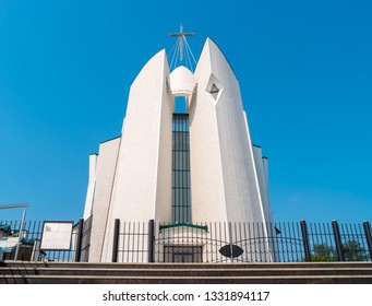 """Immaculate Heart of Mary Cathedral in Irkutsk. The Roman Catholic Diocese of Saint Joseph.  The inscription on the church - Veni, Sancte Spiritus from the Latin """"Come, Holy Spirit""""."""