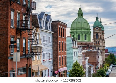 Immaculate Heart of Mary Church and Brereton Street on Polish Hill, in Pittsburgh, Pennsylvania