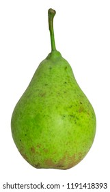 An immature pear on white.