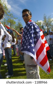 Immigrant rights rally and march, April 10, 2006, Bakersfield, California