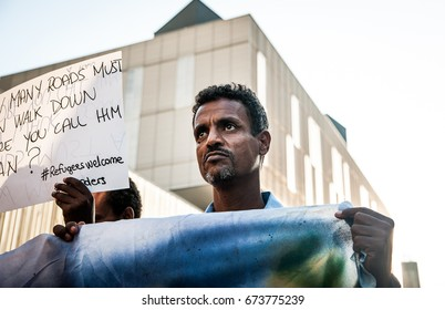 immigrants march in rome asking for hospitality for refugees, Rome, Italy, 11 September 2015