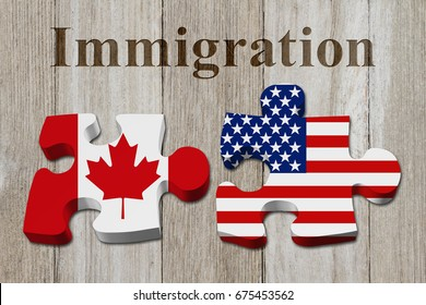 Immigrating from the Canada to USA, Two puzzle pieces with the flags of USA and Canada on weathered wood with text Immigration 3D Illustration
