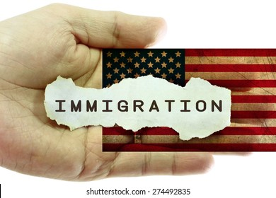 Immigration concept. United States grunge flag in the background