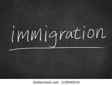 immigration concept word on a blackboard background