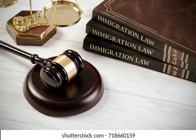 Immigration law book with judges gavel. Refugee citizenship law concept
