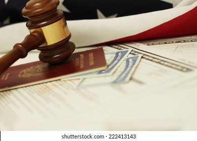 Immigration Law, Gavel and passport