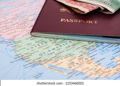 Immigration passport on map of the United States and Mexico