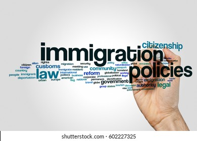 Immigration policies word cloud concept on grey background