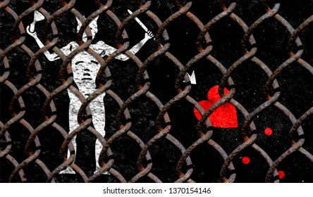 Immigration policy regarding migrants, illegal immigrants and refugees. Steel grid on the background of the flag of Blackbeard Pirate