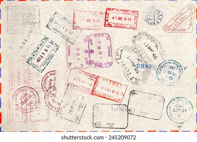 Immigration stamp. Passport Stamps