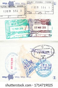 Immigration stamps of Brazil, Guatemala, the United States, Belize and Uruguay (anulado - cancelled) in a French passport. No personal data