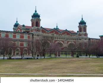 immigration terminal on Ellis Island in the harbor of NYC