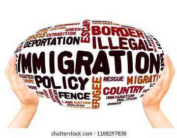 Immigration word cloud hand sphere concept on white background.