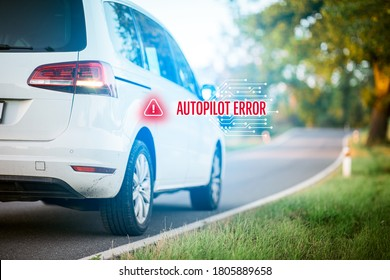 Immobile intelligent autonomous car due to autopilot software error stands at side of the road.