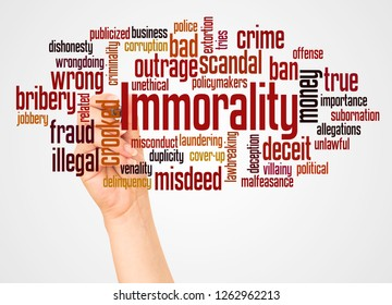 Immorality word cloud and hand with marker concept on white background.