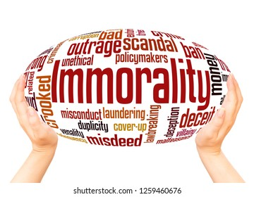 Immorality word cloud hand sphere concept on white background.