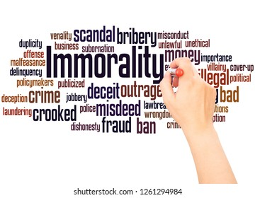 Immorality word cloud hand writing concept on white background.