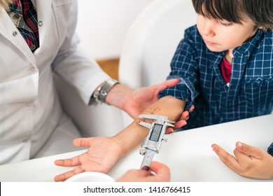 Immunology Doctor Measuring Allergy Reaction of Patient, Little Boy