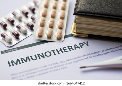 Immunotherapy - Diagnosis printed on white paper with medication, injection, syringe and pills