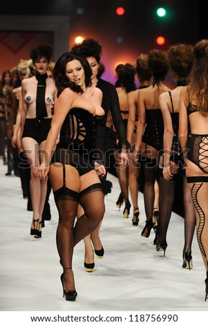66fac7f586 Imodesty Blaize on the Agent Provocateur catwalk at the Lingerie London  show at Old Bilinsgate Market