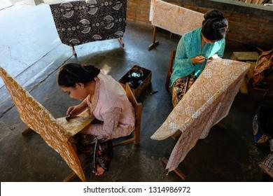 Imogiri, Yogyakarta-Indonesia. Januari 21-2019. Batik imogiri is the original batik handwriting in Yogyakarta, Indonesia.  Batik Tulis asli Indonesia.