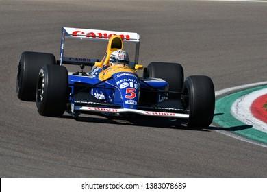 Imola, 27 April 2019: Historic 1992 F1 Williams FW14B ex Riccardo Patrese - Nigel Mansell driven by Riccardo Patrese during Minardi Historic Day 2019 at Imola Circuit in Italy.